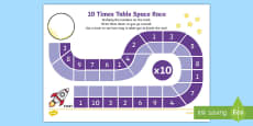 Ten Times Table Space Race Activity Sheet