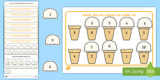 * NEW * Workstation Pack: Ice Cream Number Bonds to 10 Activity