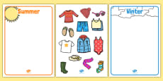 Winter and Summer Clothes Sorting Activity