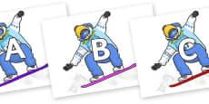 A-Z Alphabet on Snowboarding