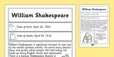 William Shakespeare Significant Individual Fact Sheet