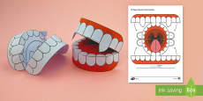 Simple 3D Halloween Vampire Teeth Activity Paper Craft