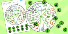 Number Matching Pegs Activity Dinosaur Themed