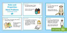 Ratio and Proportion Maths Challenge Cards