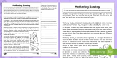 * NEW * Mothering Sunday Skimming and Scanning Activity Sheet