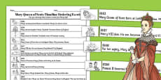 Mary Queen of Scots Timeline Ordering Events Activity Sheet