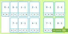 * NEW * Subtract 1 up to 10 Peg Cards