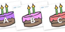 A-Z Alphabet on Cakes