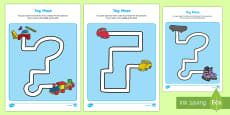 Toy Themed Pencil Control Path Activity Sheets