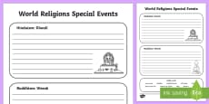 Hindu and Buddhist Celebrations Activity Sheet
