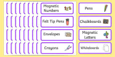 Purple Themed Editable Classroom Resource Labels