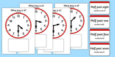 Analogue Clocks Matching Game Arabic Translation