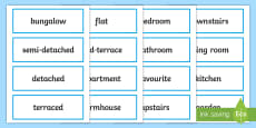 Houses and Homes Word Cards