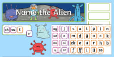 Phase 2, 3 and 5 Phonics 'Name the Alien' Interactive Display Pack