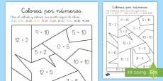 * NEW * Colorear con números: Multiplicación - x2, x5, x10