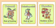 Aztec Gods Display Posters
