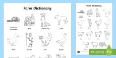Farm Dictionary Colouring Sheet