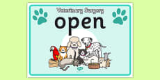 Vets Surgery Open Sign