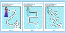 Winter Fairytale Pencil Control Path Activity Sheets