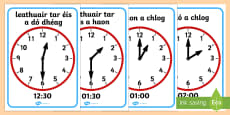 O' Clock and Half Past on Clocks Display Posters Gaeilge
