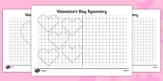 Valentine's Hearts Symmetry Differentiated Activity Sheet Pack