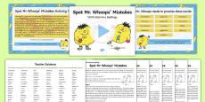 Spot Mr Whoops' Mistakes Y5/Y6 Statutory Spellings Assessment Pack
