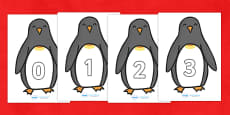 Penguin Themed Numbers 0-30