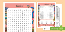 Carnival in Spain Differentiated Word Search Spanish 1er ciclo KS1