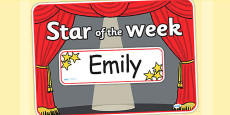 Star of the Week Stage A3 Poster Editable
