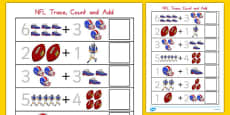 NFL Themed Trace, Count and Add Activity Sheet