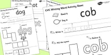 CVC Writing Word Activity Sheet Pack 'o' with British Sign Language