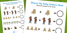 I've Lost My Teddy Where Is It Addition Sheet