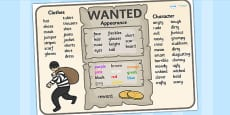 Wanted Poster Word Mat