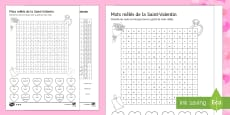Valentine's Day Higher Ability Differentiated Word Search