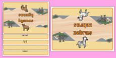 Editable Class Group Table Signs (Safari Animals)