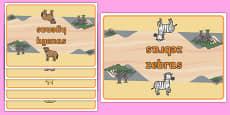 Editable Class Group Table Signs (Safari Animals)