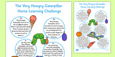 EYFS Reception FS2 Home Learning Challenge Sheet to Support Teaching on The Very Hungry Caterpillar