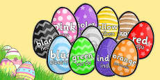 Colour Words on Easter Eggs Romanian Translation