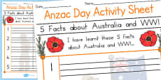 Australia - 5 Facts about Australia and WWl Anzac Day Activity Sheet