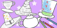 Mad Hatters Tea Party Colouring Sheets