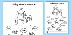 Phase 3 Tricky Word Stepping Stone Colouring Activity Sheet