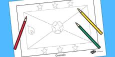 Grenada Flag Colouring Sheet