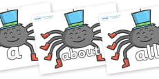 100 High Frequency Words on Spiders