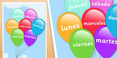 Spanish Days of the Week Balloons Poster