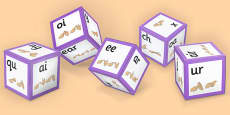 Phase 3 Phoneme Sound Dice Net with British Sign Language