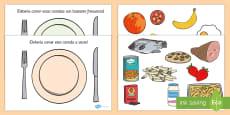 Actividad de clasificar comida saludable