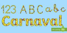 Pack de letras y números de mural: Carnaval