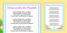 Five Easter Eggs Counting Song Sheet French