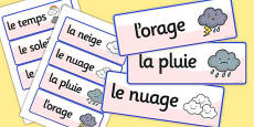 French Weather Vocabulary Cards