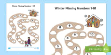 Winter Path Missing Numbers to 10 Activity Sheet